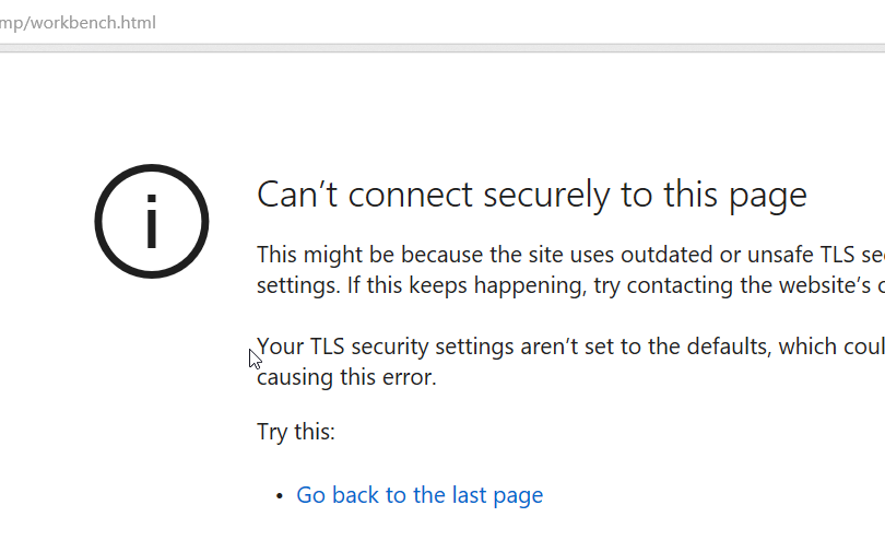 """Fix for """"Can't connect securely to this page"""" – TLS Setting"""