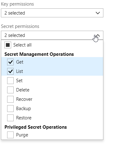 Azure Key Vault Secret Permissions