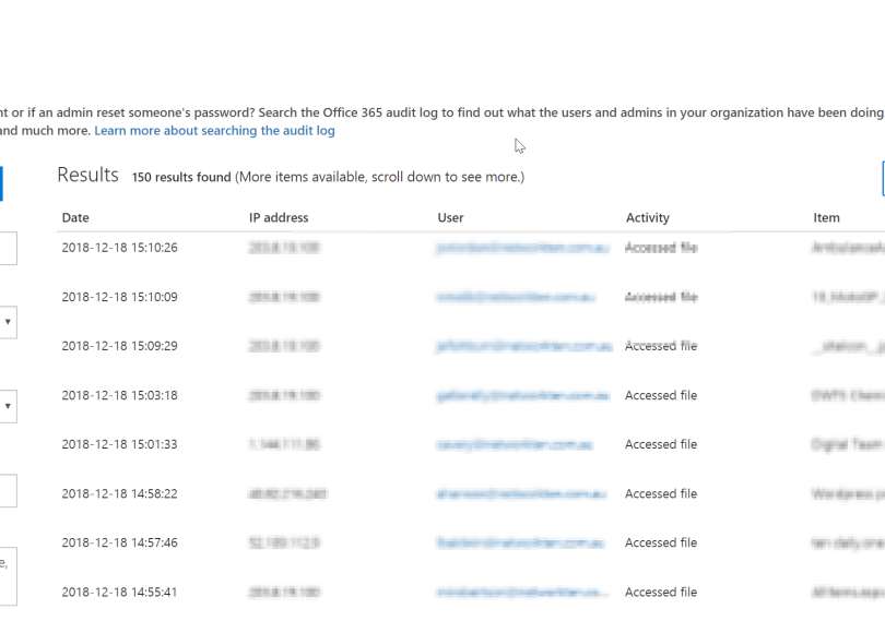 Retrieve Office 365 Audit logs using PowerShell and store in